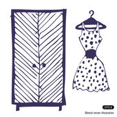 Dress and wardrobe — Stock Vector