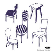 Hand-drawn chairs. Isolated — Stok Vektör