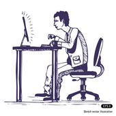 Man works hard on the computer — Stock Vector
