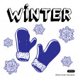 Stock vektor: Snowflakes and mittens
