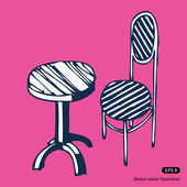 Table et chaise vintage — Vecteur