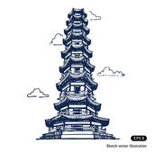 Chinese pagoda — Stock Vector