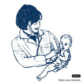 Doctor with baby — Stock Vector