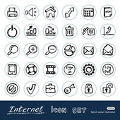 Doodle Internet and finance icons set — Stock Vector