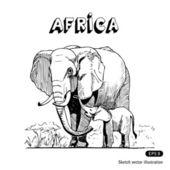 Elephants in African savanna — Stock Vector
