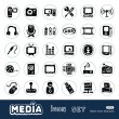 Media and social network web icons set — Stock Vector #11372146