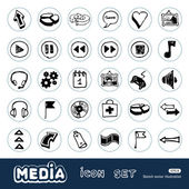 Media and arrows web icons set — Stock Vector