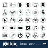 Media and communication web icons set — Stock Vector