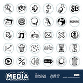 Media and social network web icons set — Stock Vector