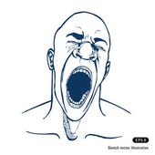 Shouting or yawning or tired man — Stock Vector