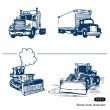 Trucks and bulldozers — Stock Vector