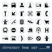 Transport and road signs urban web icons set — 图库矢量图片