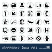 Transporte y carretera signos urbanos web iconos conjunto — Vector de stock