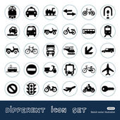 Transport, road signs and cars web icons set — Stockvector