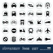 Transportu, znaki drogowe i samochody www zestaw ikon — Wektor stockowy