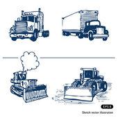 Trucks and bulldozers — Stock Vector