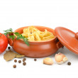 Clay pot with pasta — Stock Photo