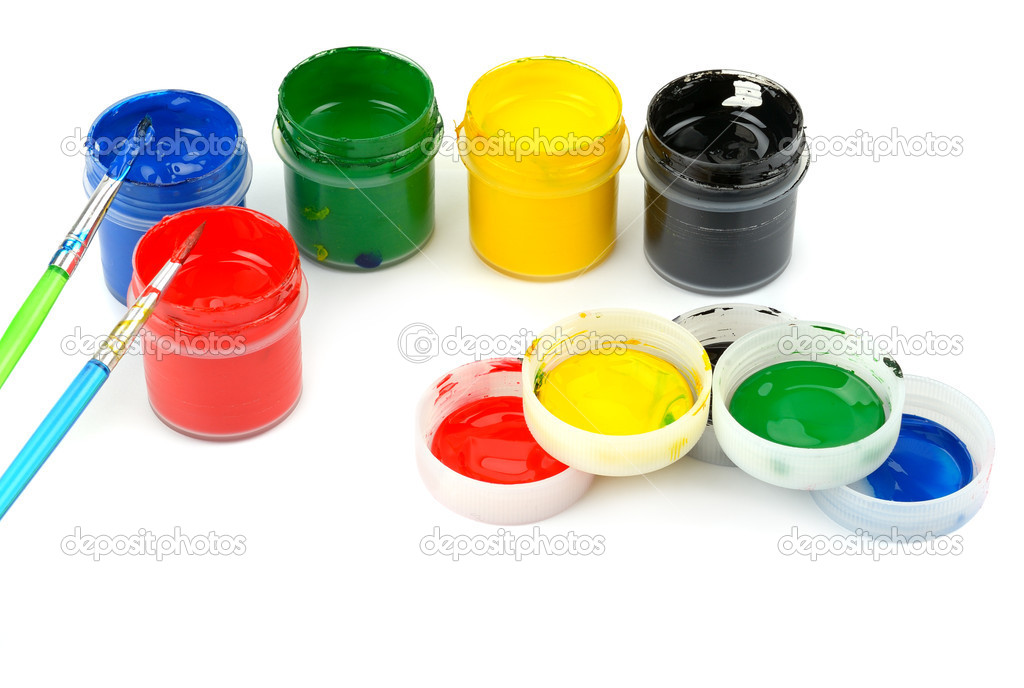 Set of watercolor paints and brushes  Stock Photo #11930915
