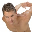 Biceps and shoulder stretch — Stock Photo