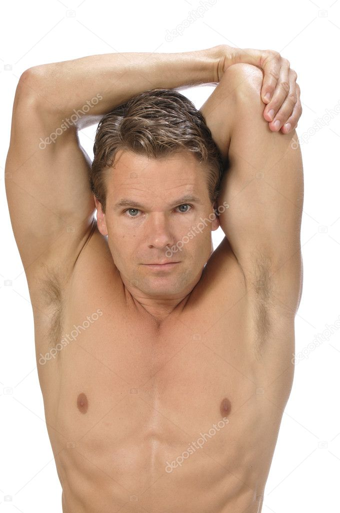 Muscular athletic shirtless man performing triceps stretch on white background  Foto de Stock   #11905902