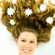 Hair with flowers — Stockfoto