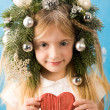 Girl with heart - Foto Stock