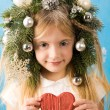 Girl with heart - Stock Photo