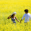 Stock Photo: Walk in the fields of gold