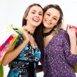 Girls with presents - Stockfoto