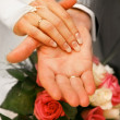 Stock Photo: Hands of newly-married
