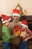 Three Santas — Stock Photo