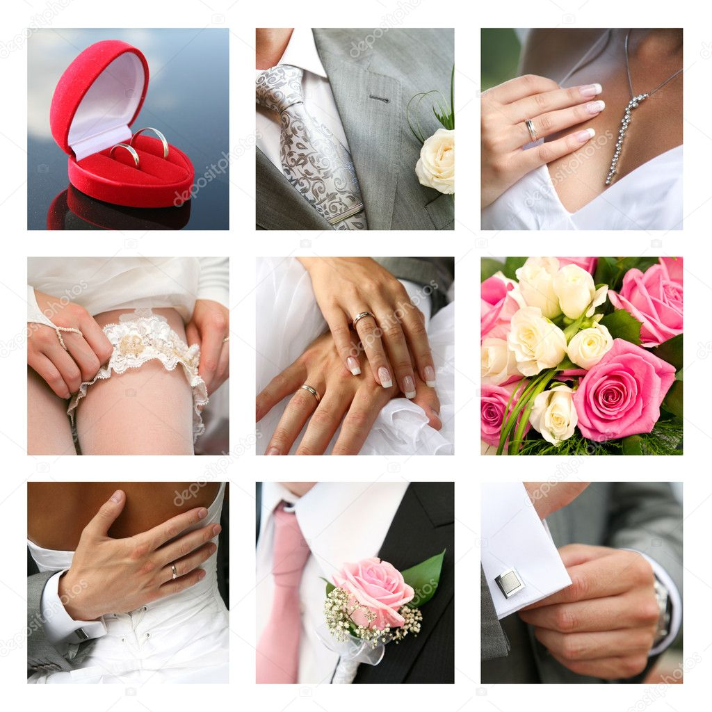 Nuptial collage made up of different photos — Stock Photo #11108646