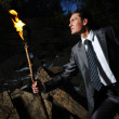 Man with fire — Stock Photo