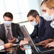 Working during flu epidemy — Stock Photo