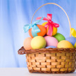 Stock Photo: Basket with colorful eggs