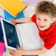 Foto Stock: Boy with laptop