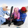 Family of skiers — Stock Photo