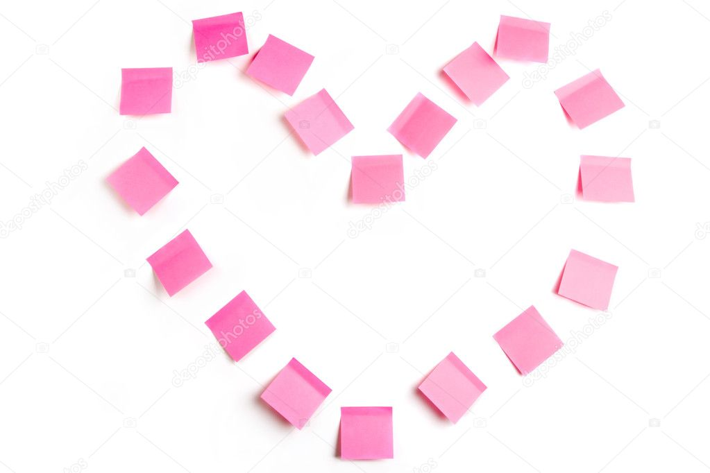 Abstract shape of heart made up of sticky paper pieces on white background — Stock Photo #11122782
