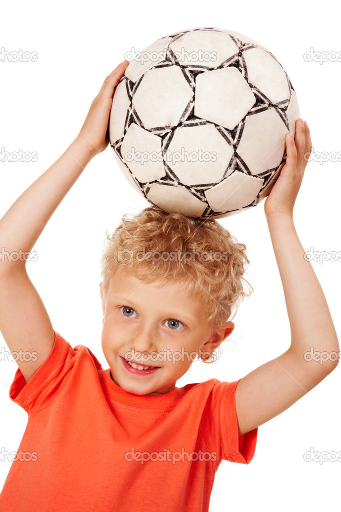 Image of sport boy holding ball over head — Stock Photo #11126135