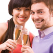 Celebrating couple — Stock Photo