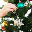 Decorating firtree — Stock Photo
