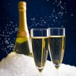 Champagne in snow — Stock Photo