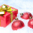 Giftbox and balls - Stockfoto