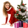 Snowgirl with presents — Stock Photo