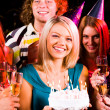 Girl with birthday cake — Stockfoto