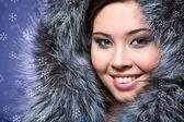 Female in furs — Stock Photo