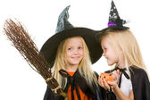 Two girl witches — Stock Photo
