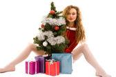 Ragazza con regali — Foto Stock