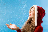 Enjoying snowfall — Stock Photo