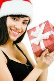 Female with giftbox — Stock Photo